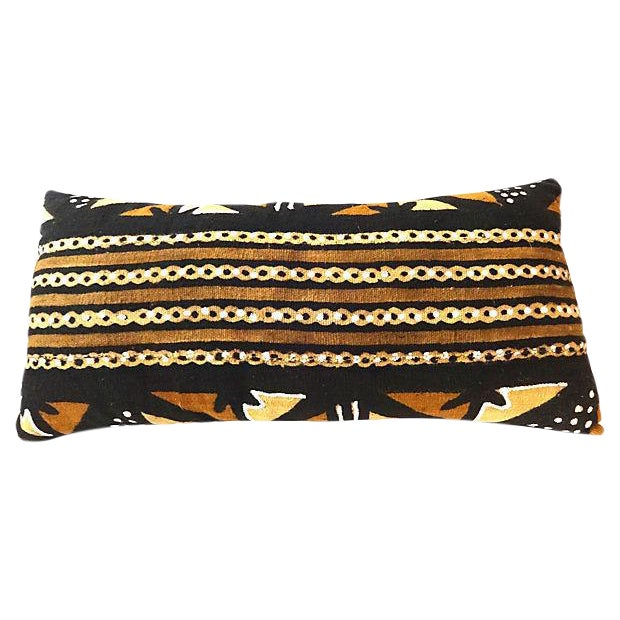African Mud Cloth Large Long Pillow - Image 1 of 6