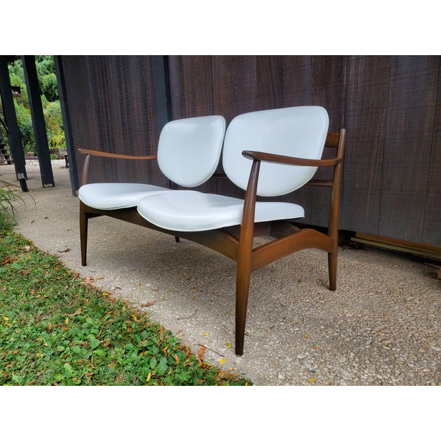 Mid-Century Modern Mid 20th Century Danish Modern Style White Settee For Sale - Image 3 of 13
