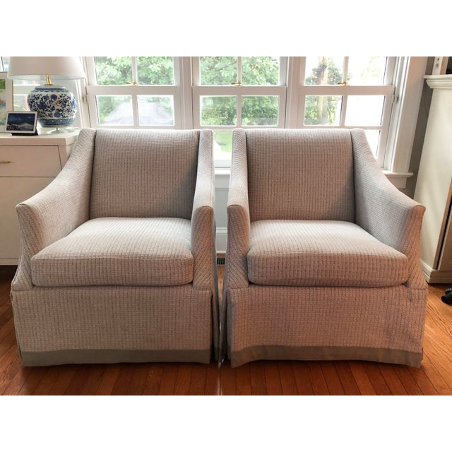 Bernhardt Bernhardt Clayton Swivel Chairs With a Custom Tape Trim - a Pair For Sale - Image 4 of 4