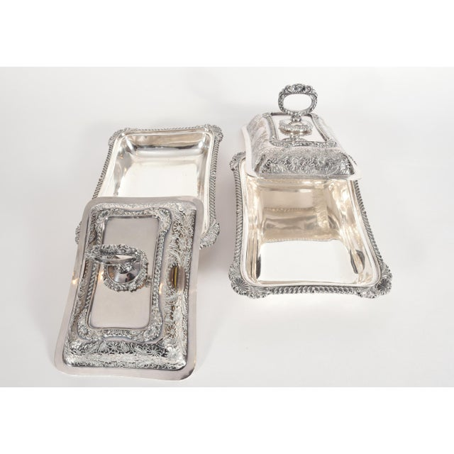 Early 20th Century English Silver Plated Tableware Serving Dishes (2 Available) For Sale - Image 5 of 12
