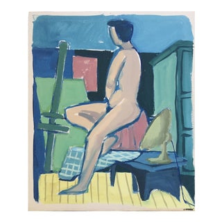 """Short Hair"" C. 1950's Gouache Mid Century Nude Painting San Francisco Artist For Sale"