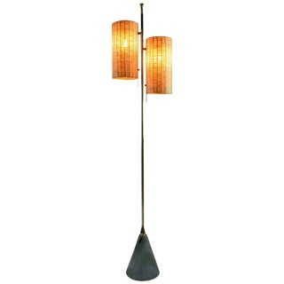 Equilibrium-III Contemporary Wicker and Marble Brass Floor Lamp For Sale