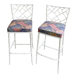 Glam Hollywood Regency Barstools - a Pair For Sale