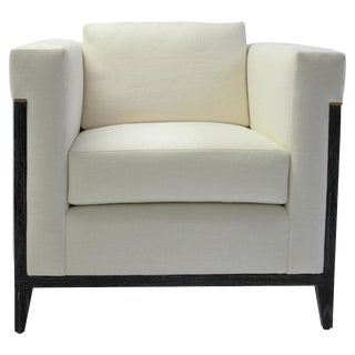 Bisquit Tufted Square Arm Club Chair With Wood Frame and Button Detailing For Sale