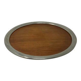 Mid Century Royal Holland Round Teak & Pewter Serving Tray For Sale