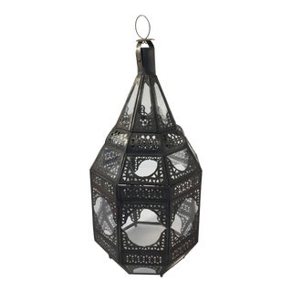 Moroccan Moorish Metal and Clear Glass Candle Lantern For Sale