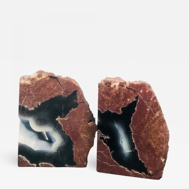 Brown Mid 20th Century Petrified Wood Geode Book Ends - a Pair For Sale - Image 8 of 8