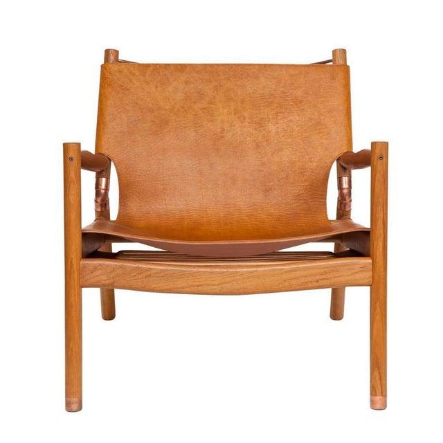 Modern Customizable Erickson Aesthetics Slung Leather Teak Lounge Chair For Sale - Image 3 of 5