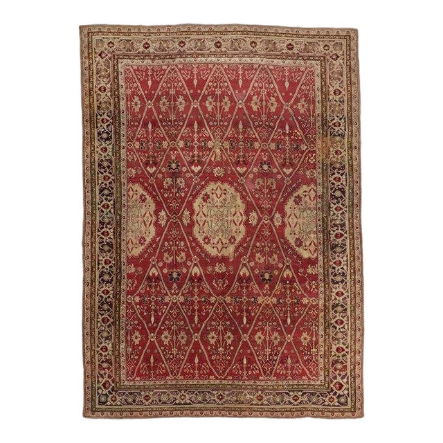 Late 19th Century Red Ground Agra Carpet - 7′9″ × 10′10″ For Sale