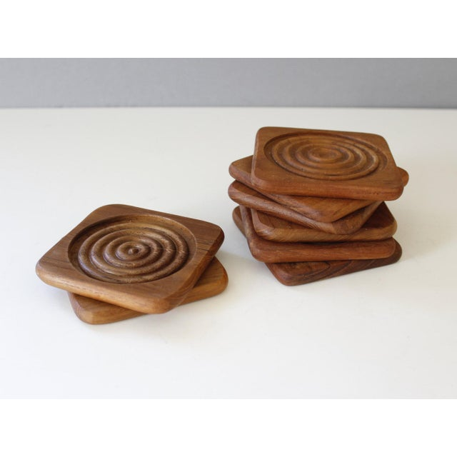 Danish Modern Dolphin Teak Coasters with Caddy - Set of 8 - Image 5 of 6