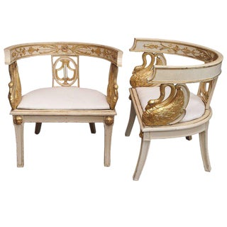 Napoleon I Period Carved Armchairs - a Pair