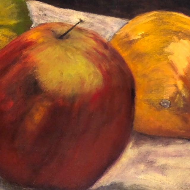 Contemporary Original Vintage Still Life Painting Apple/Orange/Green Pepper Signed For Sale - Image 3 of 6