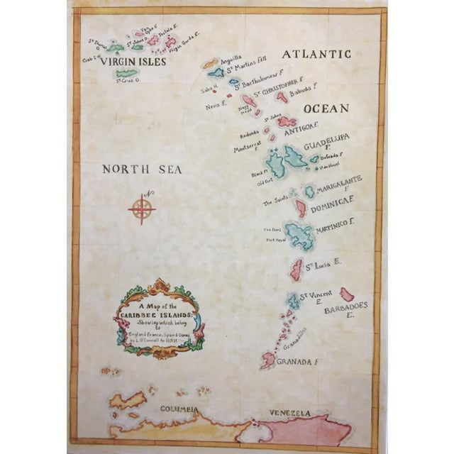 Watercolor Painting of Caribbean West Indies Map - Image 3 of 7