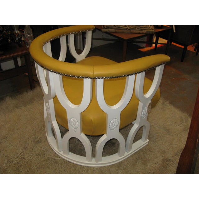 Fabulous Repurposed Vintage Leather Barrel Chair - Image 6 of 8