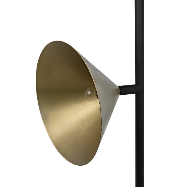 2020s Strato Floor Lamp, Black Metal and Brass Finish For Sale - Image 5 of 7