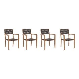 Herning Teak Outdoor Stacking Armchair (Set of 4) For Sale