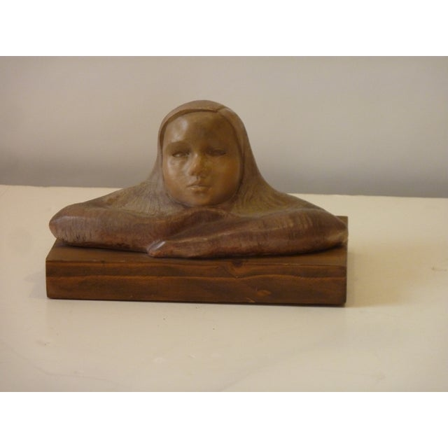 Wood Late 20th Century Ceramic Child Sculpture For Sale - Image 7 of 7