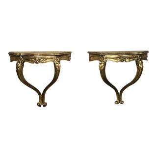Antique Italian Baroque Giltwood Nightstand Consoles - a Pair For Sale