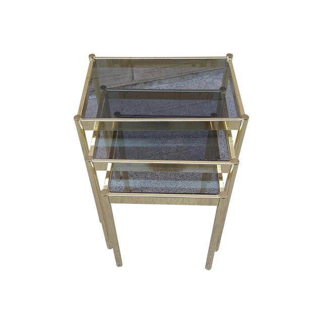 Hollywood Regency Brass & Smoke Glass Nesting Tables - Set of 3 - Image 2 of 9