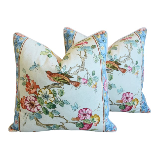 """English Chinoiserie Floral & Birds Feather/Down Pillows 24"""" Square - Pair For Sale"""