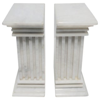 Pair of Italian White Marble Column Bookends For Sale