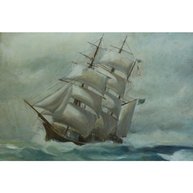 Traditional Vintage Ship 'Stormy Seas' Oil Painting on Board in Gold Frame For Sale - Image 3 of 7