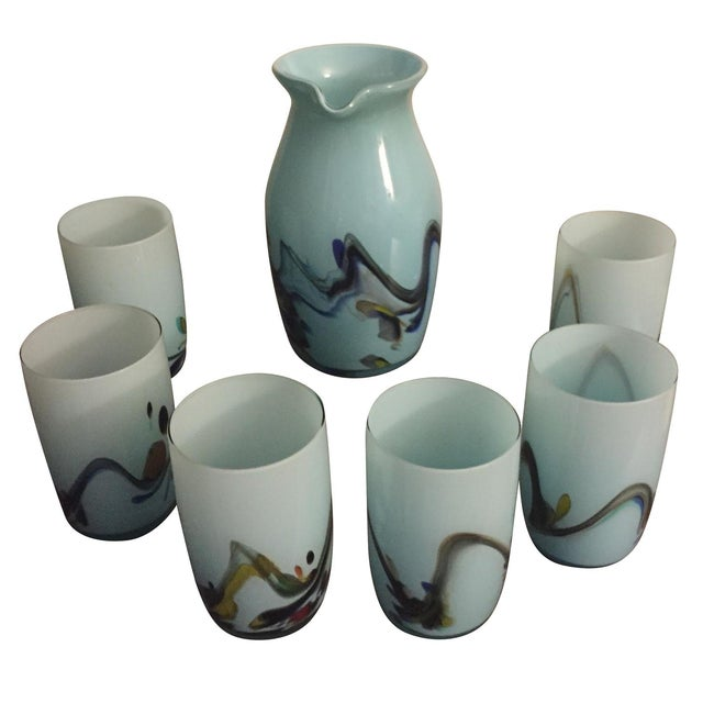 Italian Blown Glass Pitcher & Glasses - Set of 7 - Image 1 of 4