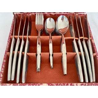 1950s Mid Century Modern Silverware Set With Original Box - Set of 32 Preview