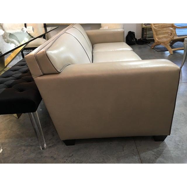Contemporary Modern LeatherCraft Custom Pearlized Italian Leather Sofa For Sale - Image 3 of 13