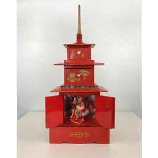 Vintage Pagoda Chinoiserie Jewelry Music Box Geisha Preview