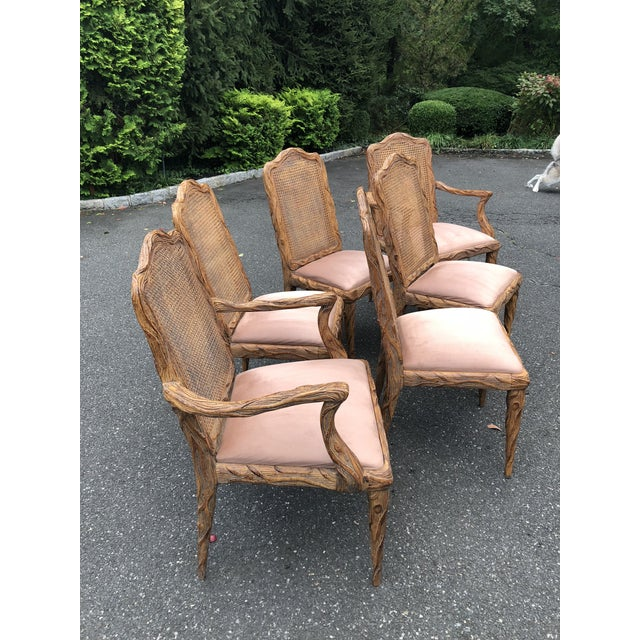 Abstract Faux Bois Dining Chairs - Set of 6 For Sale - Image 3 of 13