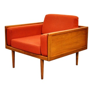 Mel Smilow Walnut and Burnt Orange Wool Case Lounge Chair For Sale