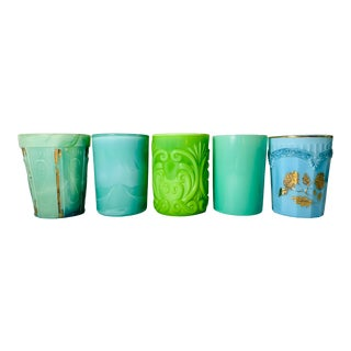 Late 19th Century Curated Collection of American Art Glass Tumblers in Shades of Turquoise - Set of 5 For Sale