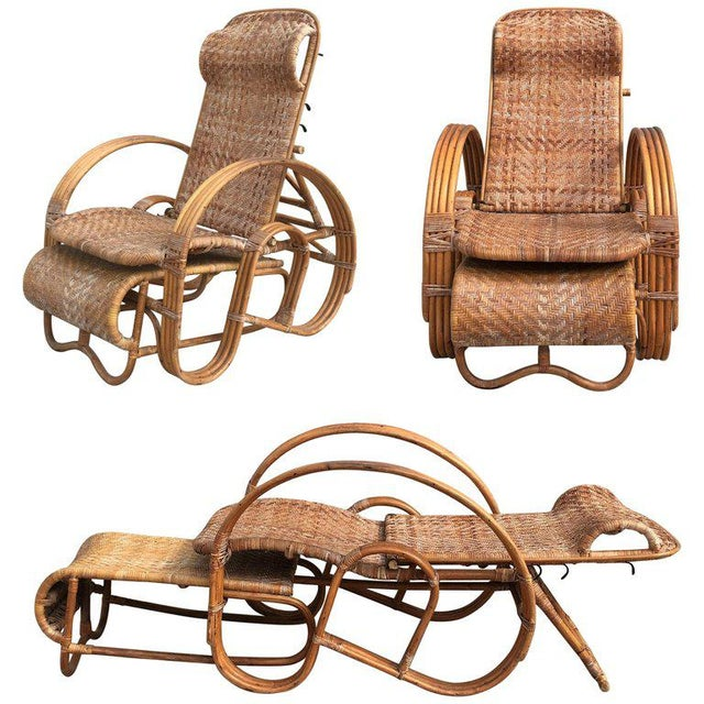 20th Century Adjustable Bentwood and Rattan Chaise Longue With Ottoman For Sale - Image 12 of 12