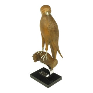 Carved Wood & Silver Sculpture Of Raptor Bird On Falconer's Hand For Sale