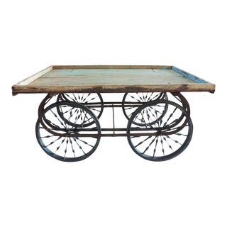 Reclaimed Wood & Iron Cart For Sale