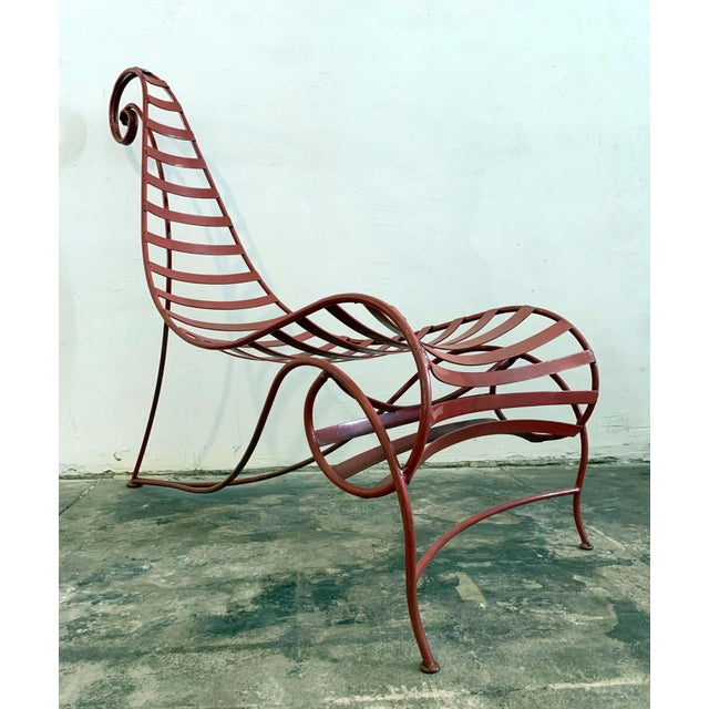 Metal Iron Spine Chair Attributed to Andre Dubreuil For Sale - Image 7 of 11