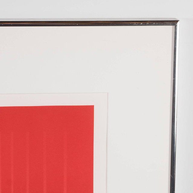 1960s Dynamic Mid-Century Modern Op-Art Signed Serigraph by Ennio Finzi in Vibrant Red For Sale - Image 5 of 10