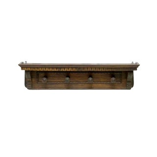 Mid 19th Century Antique Italian Renaissance Revival Carved Wood Wall Hat & Coat Rack With Shelf For Sale