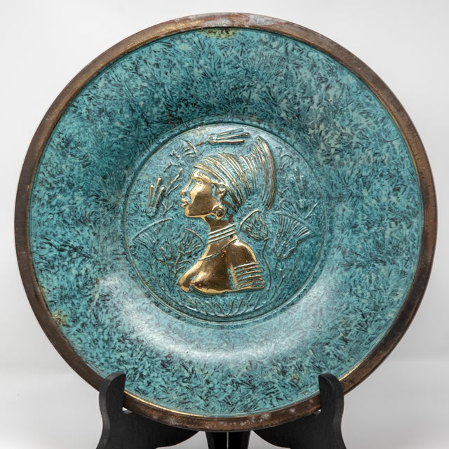 Florintine Green Patina Wall Accent Decorative 12' Plaque / Plate For Sale - Image 9 of 10