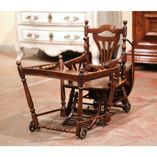 Brown Mid-20th Century French Carved Folding Up and Down Child High Chair on Wheels For Sale - Image 8 of 13