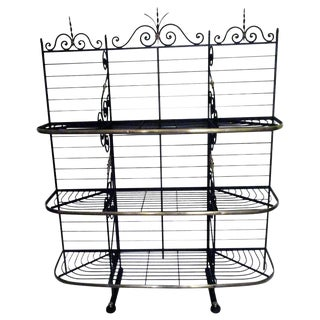19th Century French Wrought Iron and Brass Bakers Rack For Sale