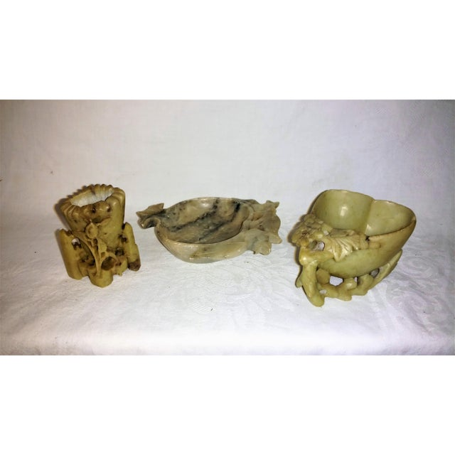 Vintage Chinese Soapstone Cachepots and Vase in this trio collection. Small but wonderful accent pieces for your Asian...