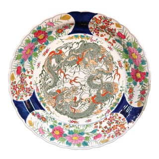 Antique Oversized Japanese Meiji Imari Porcelain Charger 19th Century For Sale