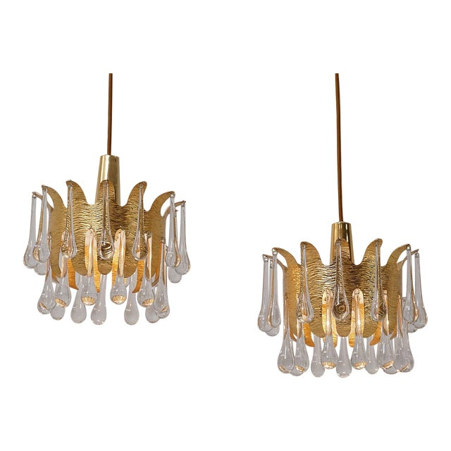 Ernst Palme Pendants for Palwa Gilt Brass & Crystal, 1960's, German - a Pair For Sale