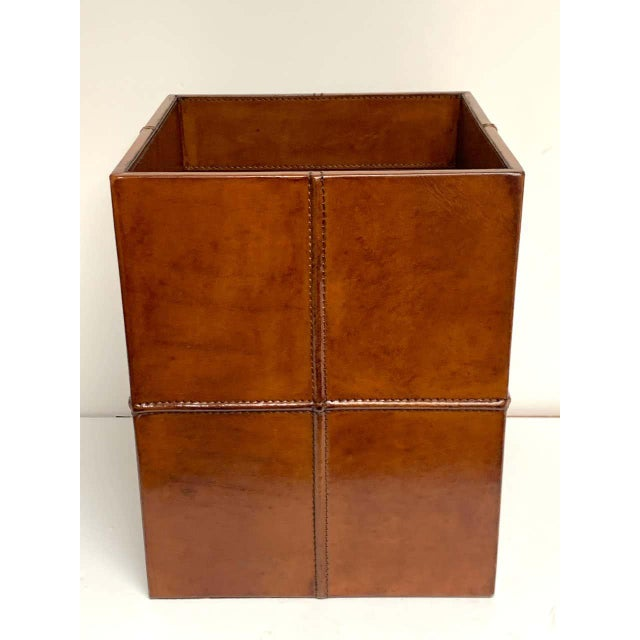 Leather French Modern Stitched Leather Cube Wastepaper Basket For Sale - Image 7 of 9