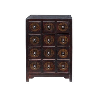 Chinese Distressed Brown 12 Drawers Medicine Apothecary Cabinet