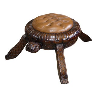 Hand Carved Wood and Tufted Leather Turtle Footstool For Sale