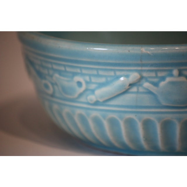 Early 20th Century Roseville Pottery Turquoise Bowl For Sale - Image 5 of 8