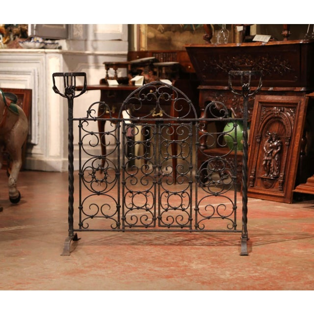 19th Century French Forged Iron Double Door Fireplace Screen With Bowl Holders For Sale - Image 10 of 10